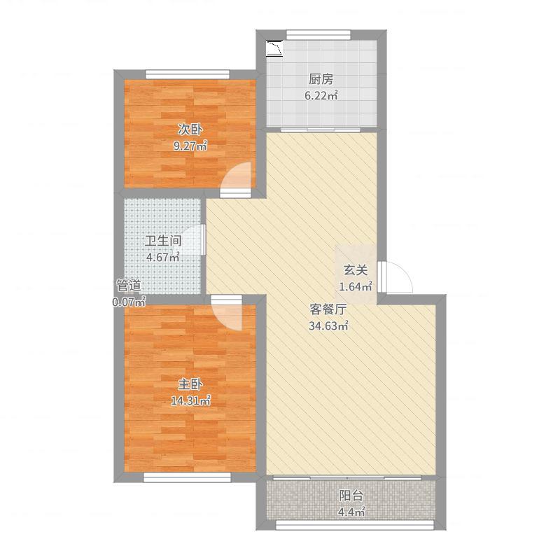 孟家新村65.00㎡户型2室2厅1卫户型图