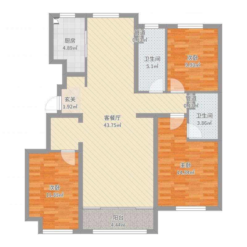 绿城沈阳全运村127.00㎡蘭园户型3室3厅2卫1厨-副本-副本户型图