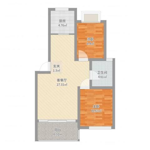 海上印象2室2厅1卫1厨78.00㎡户型图