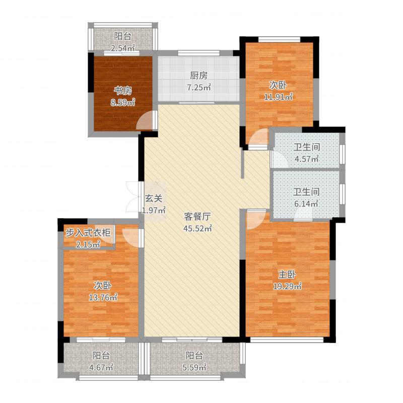 中冶盛世滨江165.00㎡一期锦绣华府标准层D1户型4室4厅2卫1厨户型图