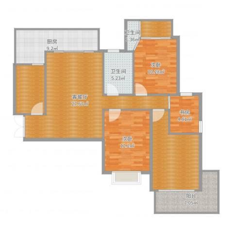 滨湖世纪城徽昌苑3室2厅2卫1厨124.00㎡户型图