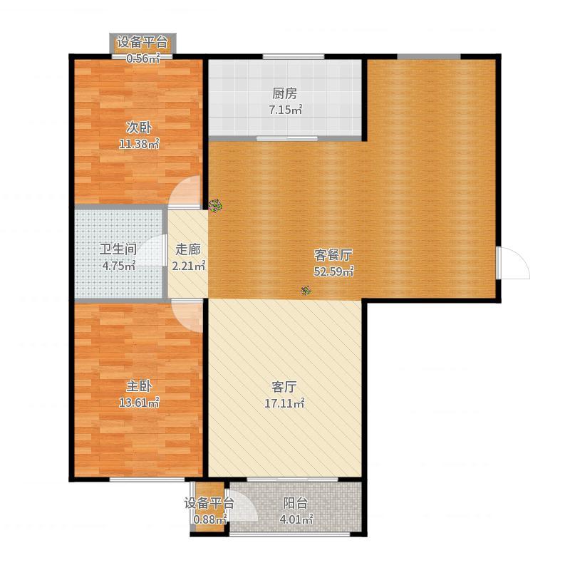 世纪学庭115.82㎡C1户型两室两厅一卫约115.82平米户型2室2厅1卫-副本户型图