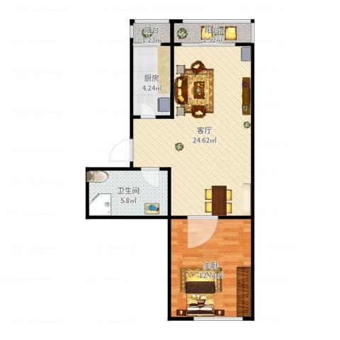 聚安东园1室1厅1卫1厨64.00㎡户型图