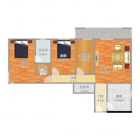 天创世缘2室1厅2卫1厨113.00㎡户型图