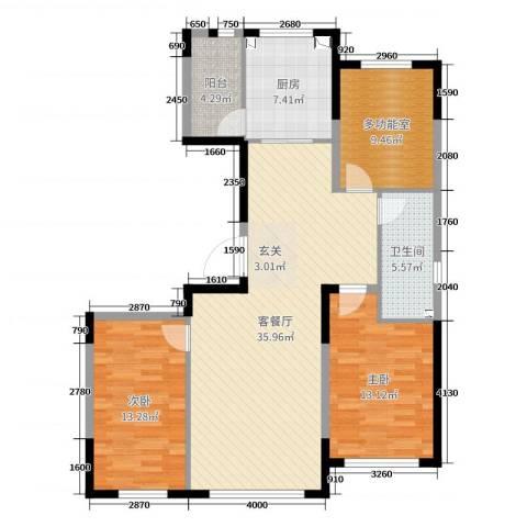 青云天下2室2厅1卫1厨130.00㎡户型图