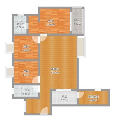 世通和府3室2厅2卫1厨117.00㎡户型图