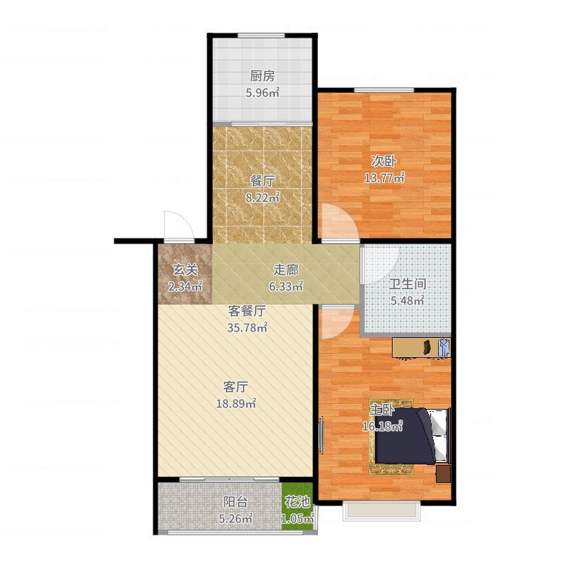 泰丰首府88.00㎡F2户型面积约88平户型2室2厅1卫户型图