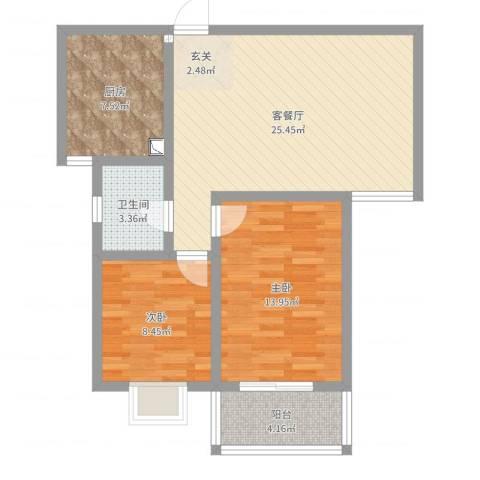 天泽水岸2室2厅1卫1厨79.00㎡户型图