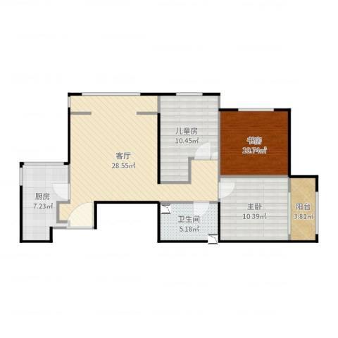 晓月苑五里3室1厅1卫1厨95.00㎡户型图