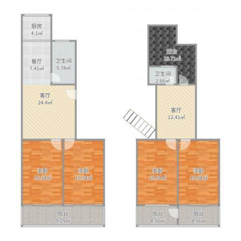 正泰花苑4室2厅2卫1厨175.00㎡户型图