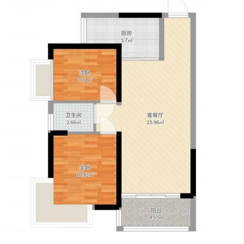秋谷月半弯2室2厅1卫1厨71.00㎡户型图