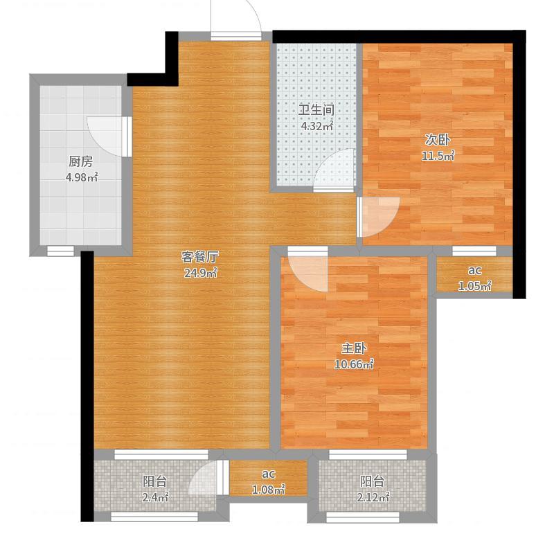 秦皇岛  远洋海逸世家 79㎡ 两居室设计户型图