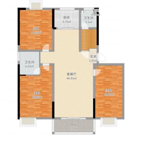 兴业・王府花园二期3室2厅2卫1厨159.00㎡户型图