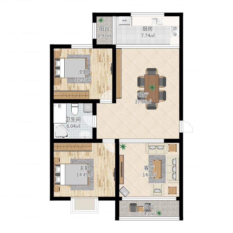 龙豪国际花园20幢704室户型图