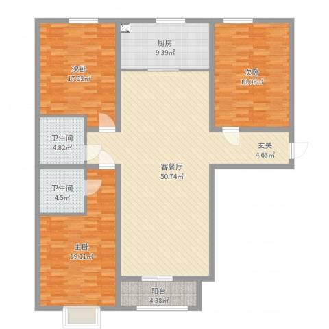 红星国际3室2厅2卫1厨160.00㎡户型图