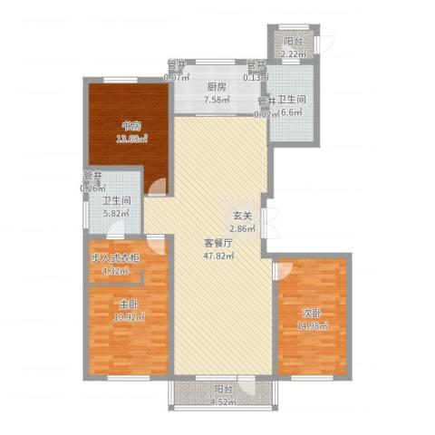万科蓝山3室2厅2卫1厨155.00㎡户型图