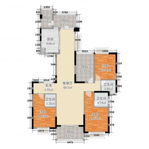 天骄御峰花园3室2厅3卫1厨192.00㎡户型图