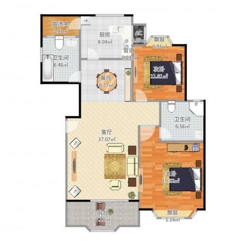 西班牙名园一期2室1厅2卫1厨125.00㎡户型图