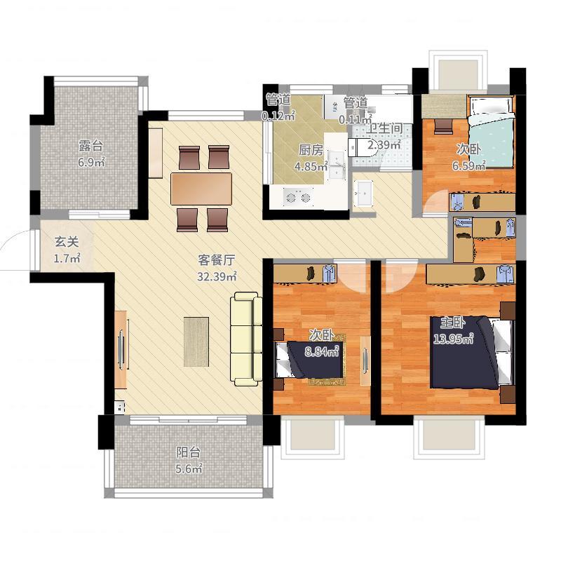 张家港碧桂园118.00㎡J705C奇户型3室2厅1卫1厨户型图