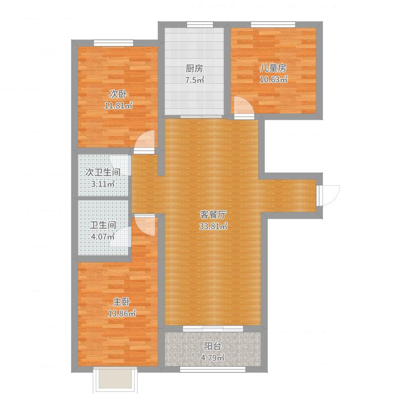 日式:邯郸市美的梧桐林语4号楼2单元F3户型原始图户型图
