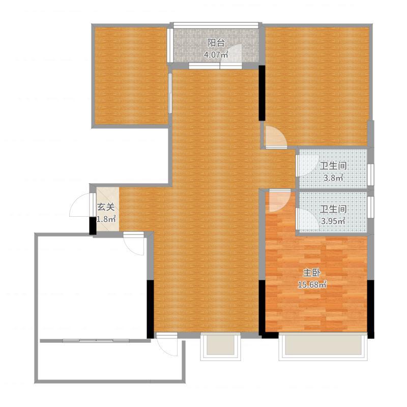 碧桂园城市花园117.00㎡二期1#、4#标准层YJ118T-A户型3室3厅2卫1厨户型图