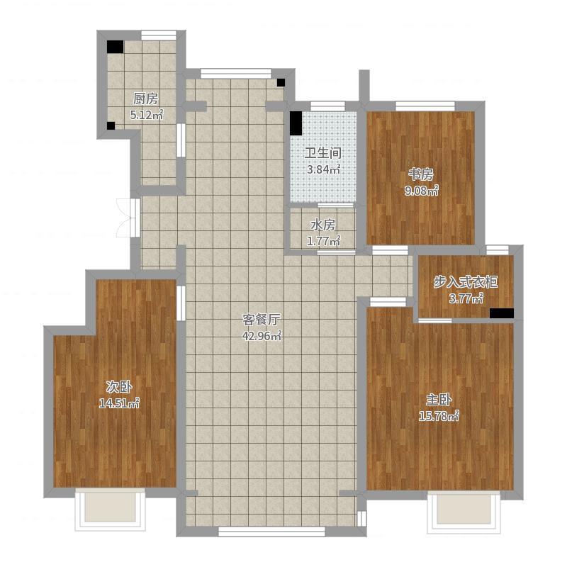 上东轩128平米02户型初始平面图(内墙尺寸)户型图
