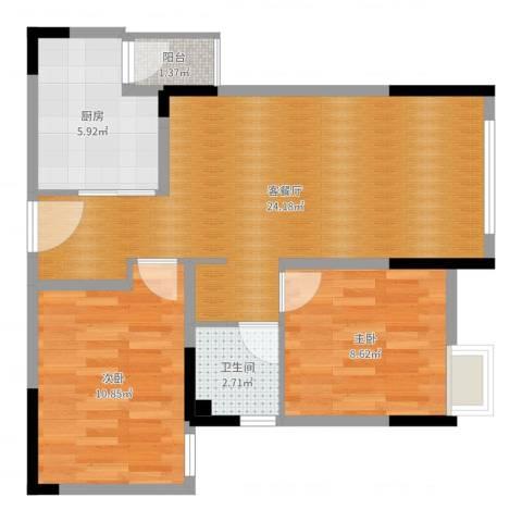合能璞丽2室2厅1卫1厨67.00㎡户型图