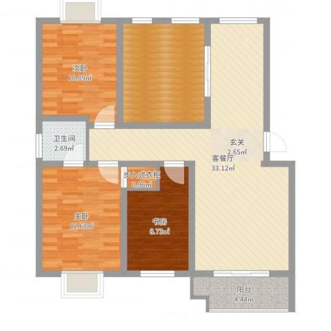 紫薇・香河湾3室2厅1卫0厨108.00㎡户型图