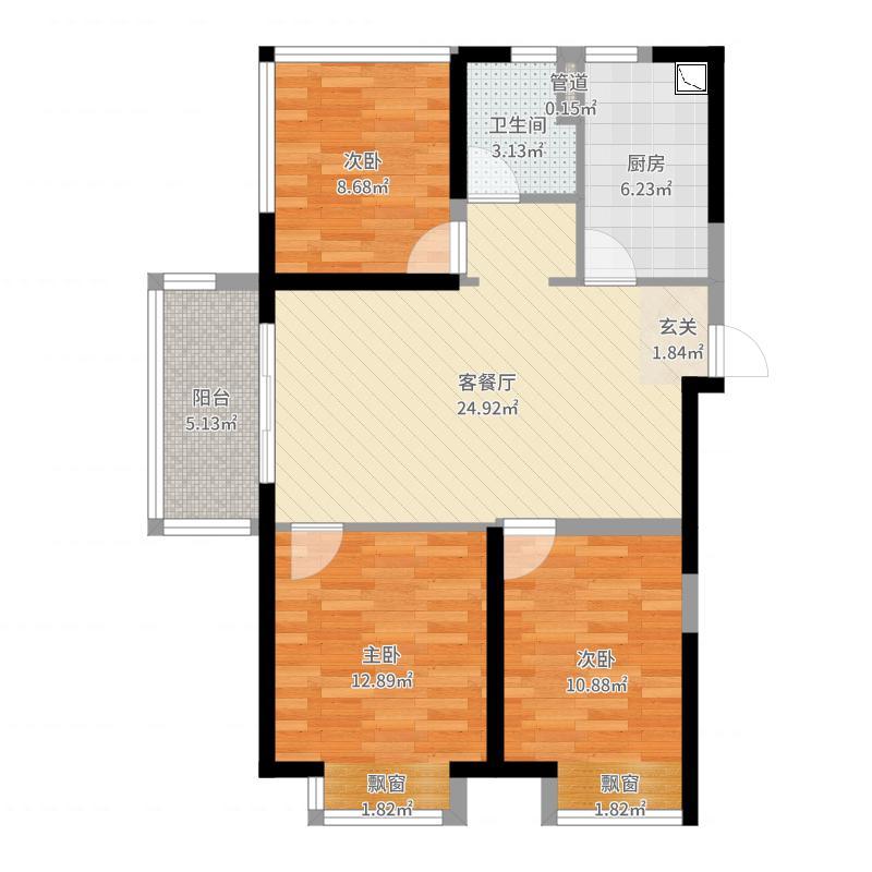 保利西江月90.00㎡一期1、3、7、8#边户标准层A户型3室3厅1卫1厨-副本户型图