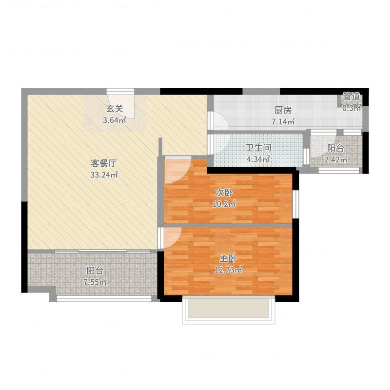 恒大名都97.40㎡1#楼2户型2室2厅1卫1厨-副本户型图