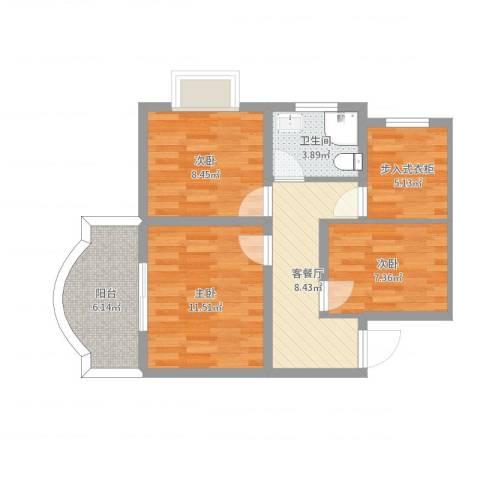 银河花园3室2厅1卫0厨64.00㎡户型图