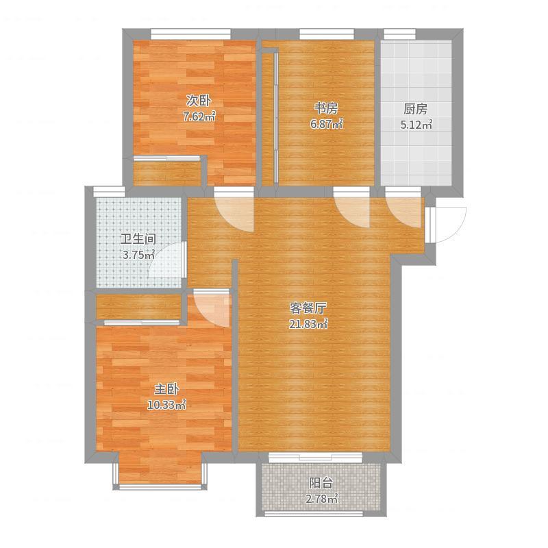 中建・高街国际3室2厅1厨1卫户型图