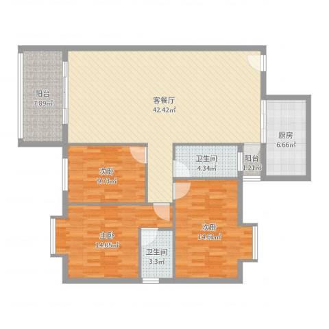 丽欣家园3室2厅2卫1厨130.00㎡户型图