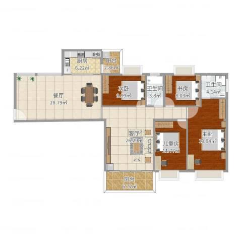 世纪华庭4室2厅2卫1厨161.00㎡户型图