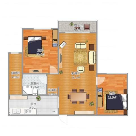 望江水岸2室2厅1卫1厨98.00㎡户型图