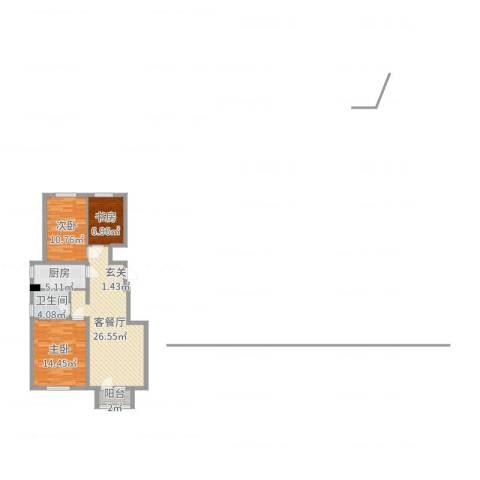 景泰・彼岸蓝郡3室2厅1卫1厨87.00㎡户型图