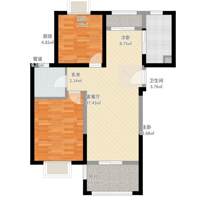 上海裕花园94.00㎡户型2室1厅1卫1厨户型图