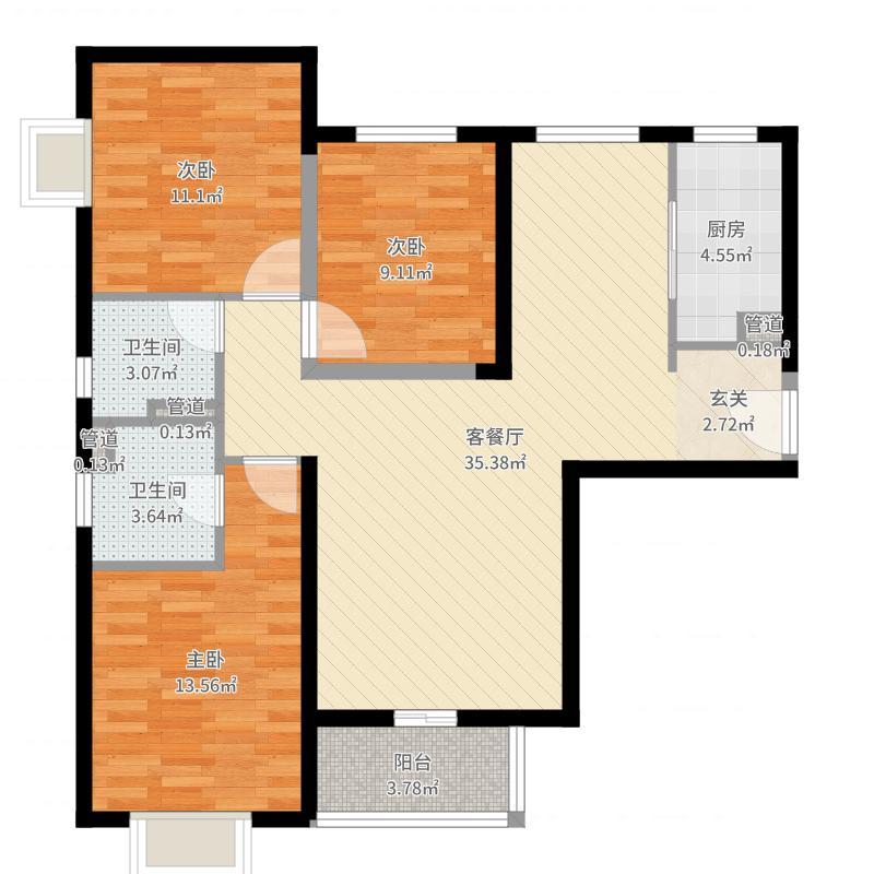 隆兴宜居12.87㎡7户型3室2厅1卫1厨-副本户型图