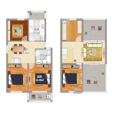 联丰世纪苑3室2厅1卫1厨153.00㎡户型图