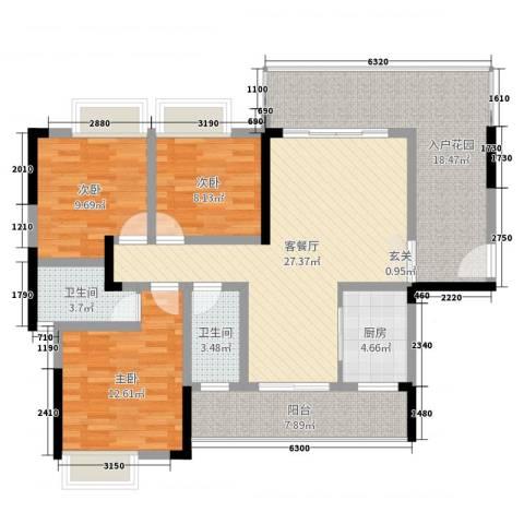 顺祥南洲1号3室2厅2卫1厨115.00㎡户型图