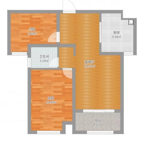 绿地泰晤士新城2室2厅1卫1厨77.00㎡户型图