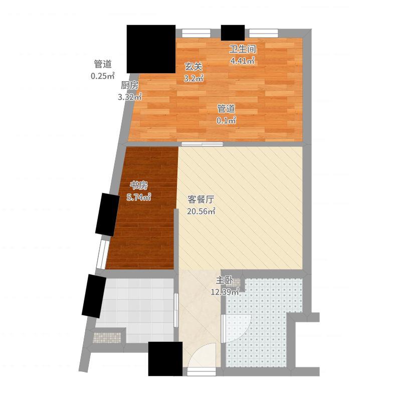 芝麻街64.00㎡芝麻街户型图户型图户型10室-副本户型图