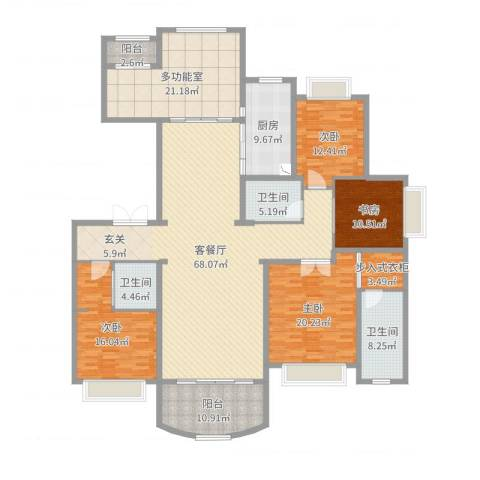 荣禾曲池东岸4室2厅3卫1厨241.00㎡户型图