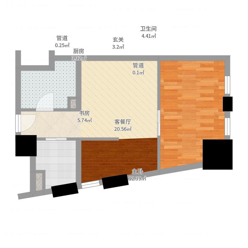 芝麻街64.00㎡芝麻街户型图户型图户型10室-副本-副本户型图