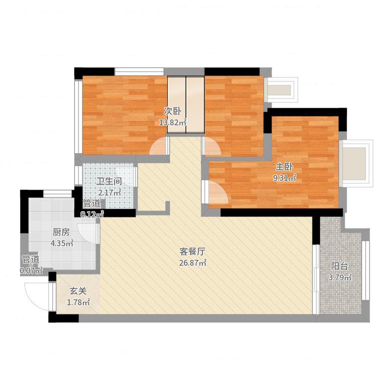 龙湖龙誉城88.00㎡高层1#楼503室户型3室2厅1卫1厨户型图