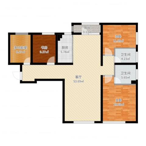 保利金香槟3室1厅2卫1厨151.00㎡户型图