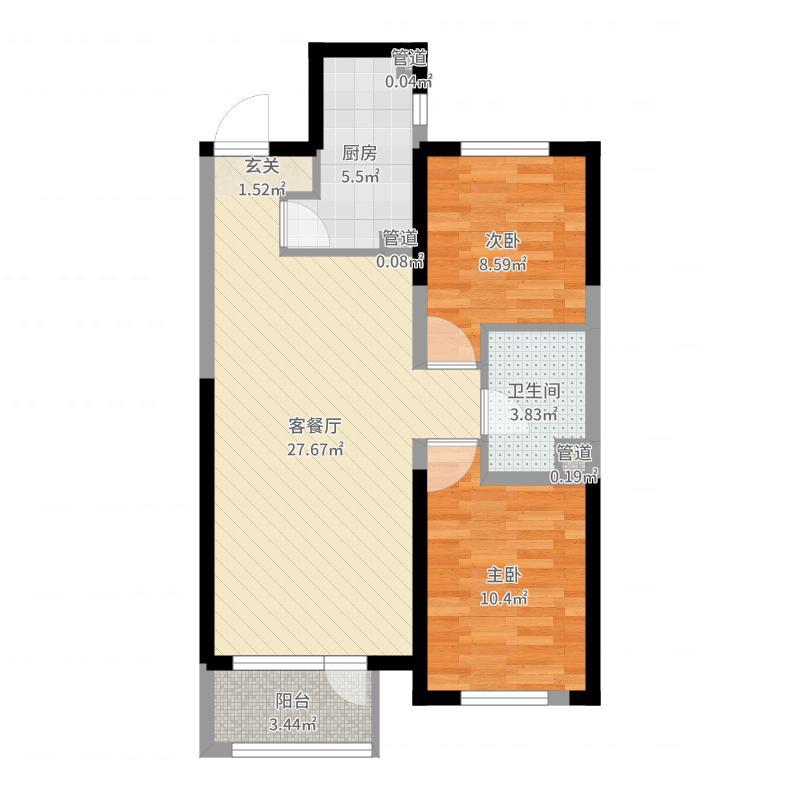 中海・和平之门90.00㎡1#标准层B1户型2室2厅1卫1厨户型图