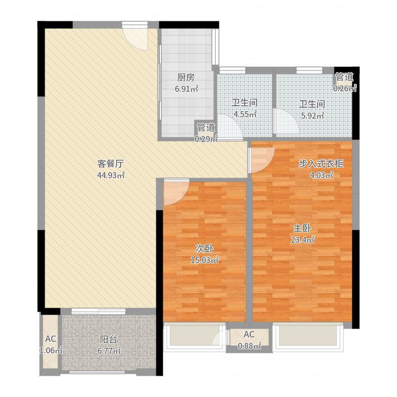 壹号公馆110.00㎡壹号公馆户型图G1号楼B1户型2室2厅2卫1厨户型2室2厅2卫1厨-副本户型图