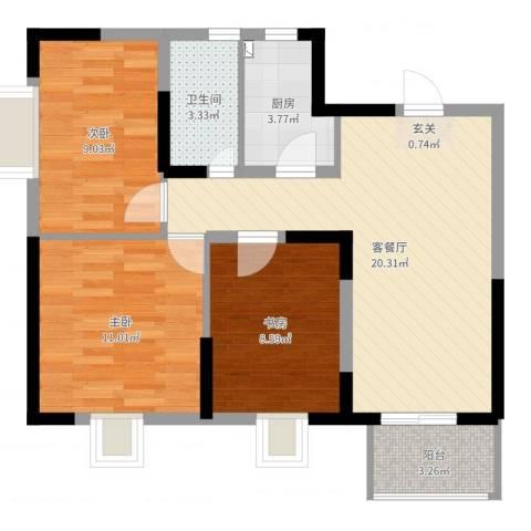 万顺花园3室2厅1卫1厨74.00㎡户型图
