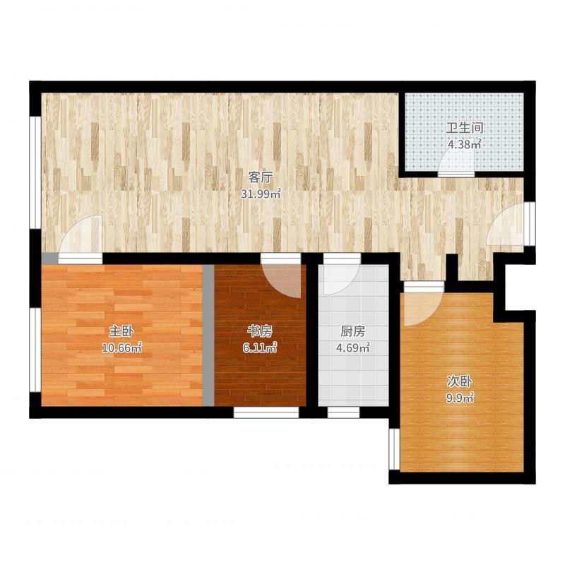 鸿坤・理想湾88.70㎡C户型3室2厅1卫-副本户型图